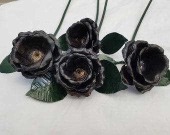 Black steel roses