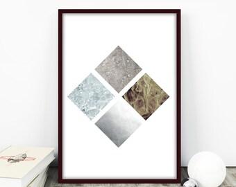 Four Elements Print, Rhombus Print, Square Wall Art, Feng Shui Wall Art, Scandinavian Wall Art Print, Affiche Scandinave, Geometric Print