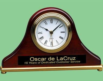 """Personalized Engraved 7 1/2"""" x 4 1/2"""" Rosewood Piano Finish Mantel Desk Clock."""
