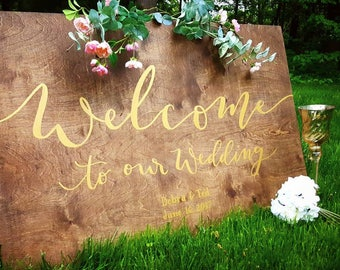 Wood Wedding Welcome sign, Large Wooden Welcome sign, Rustic Wedding Sign, Boho Wedding, Farmhouse Wedding, Gold Wedding, Rustic Welcome