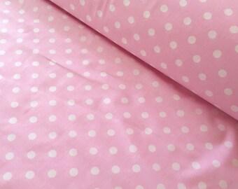 Half metre (50cm) polka dot fabric, pink polka dot fabric, polka dots fabric, pink polka dots fabric, pink fabric, white polka dot fabric