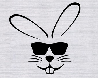 Easter Bunny with sunglasses SVG cutting file, Boys easter svg, easter svg for boys, eastr shirt, files for silhouette, cricut, digital
