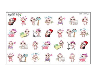 Planner Stickers Sloth Variety 2