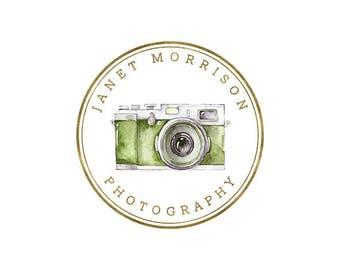 premade logo, photography logo design, camera logo, circle logo, watercolor logo, business branding, photography watermark 003