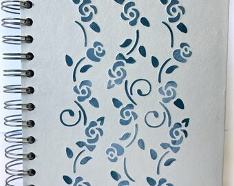Notebook hand painted Floral, handmade, motif in relief, painted with chalk paint, custom, Original, exclusive
