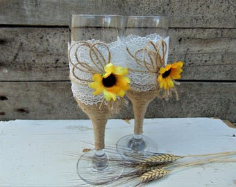 Wedding Champagne Glasses Sunflower Wedding Glasses Wedding Rustic Toasting Flutes Lace twine,Rustic Toasting Glasses,Wedding Glasses