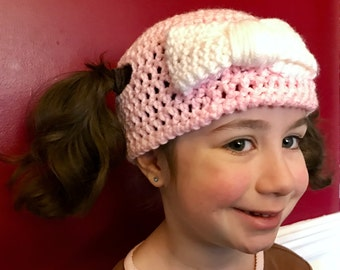 Girlie Bow Pigtail Hat