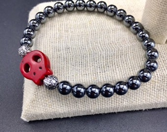 6mm hematite bracelet with stone skull on elastic