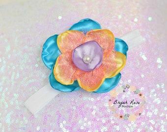 Cute Flower Headband // Easter // Spring // First birthday // Singed Satin Flower // Handmade