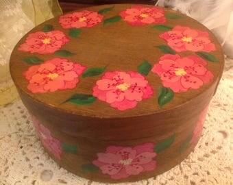 "Vintage Hand Painted 6"" Round Wood Box"