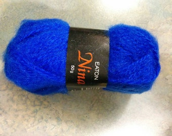 Vintage Lot of Eaton's Nina Yarn - 10 balls - Royal Blue