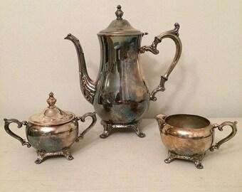 Antique Silver Tea Set | Pitcher | Creamer | Sugar Bowl