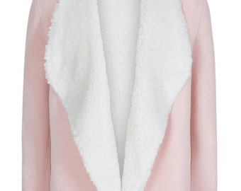 Girls pink fleece jumper hoodie