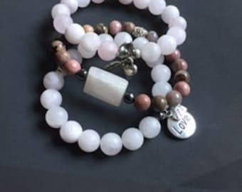 Rose Quartz/Healing Bracelet/Yoga Bracelet/Love/Energy