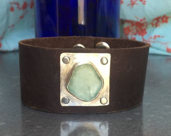 Teal Sea Glass Leather Cuff - Large