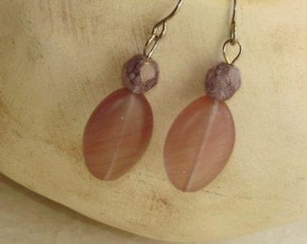 Pink Oval and Lavender Round Dangle Earrings
