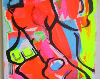 Cubistic Abstract Elephant- Original Acrylic Fine Art Painting