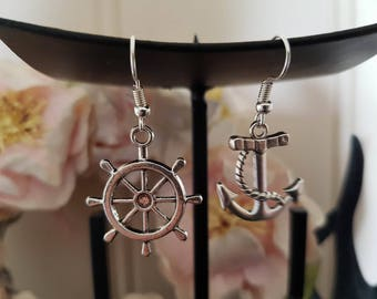 Mismatched Nautical Earrings