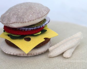 Felt Burger, Felt Food, Felt Diner Food, Play Food, Kid's Felt Food, Kid's Play Food, Pretend Food, Felt Burger and Fries