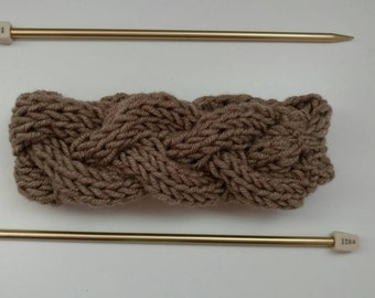 Taupe Cable Knit Headband