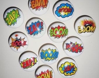 SUPER HERO COMIC Words! 40mm Wood Drawer/Cupboard Knobs! Kerpow! Wham! Pow! Zap! Great Kids Gift Idea!