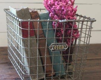 Vintage old school locker baskets, industrial wire baskets