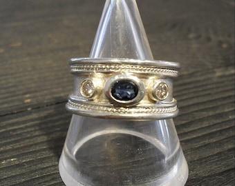 Sapphire ring, sterling silver ring, silver ring, diamond ring, sapphire, diamond