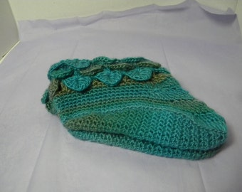Gorgeous hand crochet slippers with crocodile edging