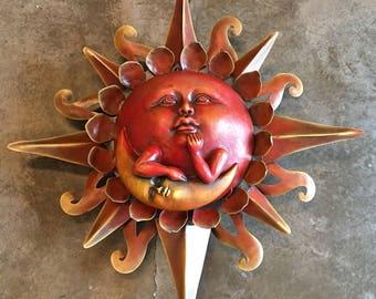 Large Sun / Wall Sun /  Garden Sun / Sun Wall Sculpture / Decorative Sun / Sun with Metal Rays