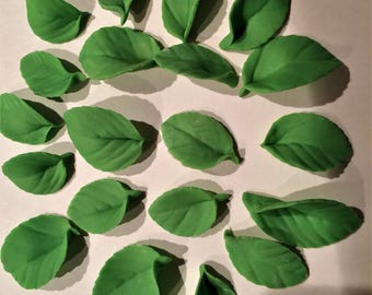 40 Edible Leaf Cake or Cupcake Toppers