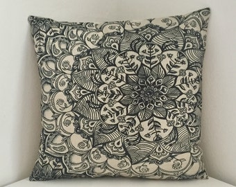 Cushion Cover, Floral Print Cushion, Mandala Pillow, Bohemian Cushion Cover