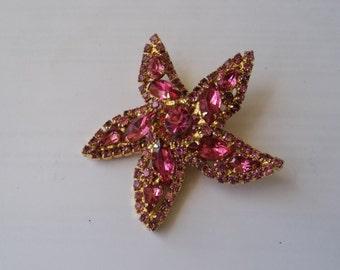 Wiess Pink Starfish Brooch