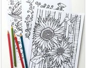 Printable 3 Colouring Pages: Quirky Botanicals 4