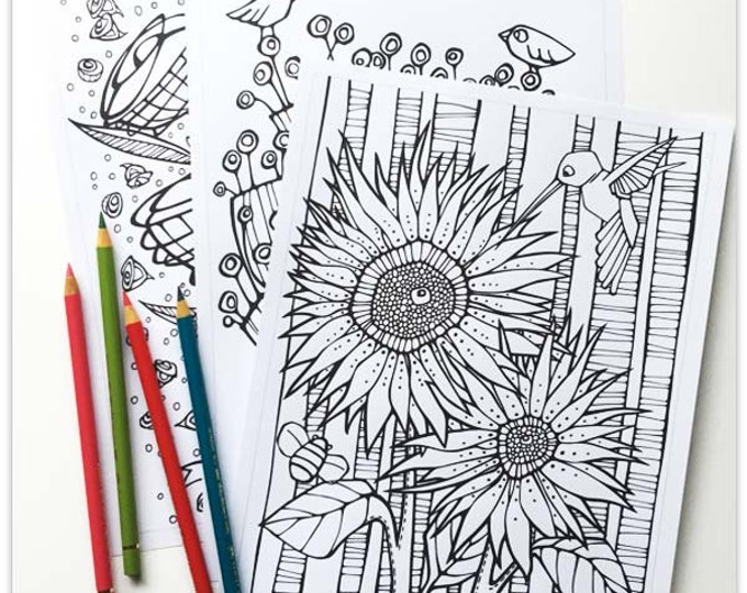 Featured listing image: Printable 3 Colouring Pages: Quirky Botanicals 4