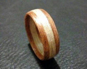 Bentwood Ring. Handcrafted Wood  Ring. Gray Pine and Walnut woods.