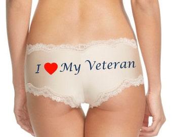 Custom Panties, I love my Veteran, Bride Gift, Military Wife, Military Bride, Bridal Shower Gift, Custom Underwear, Personalized Panties