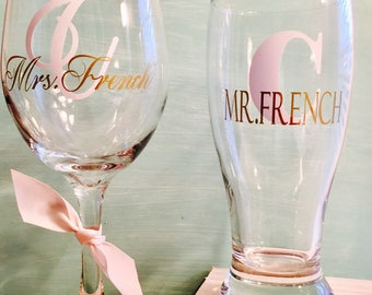 His and Hers beverage glasses