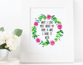 What I Love Most About My Home - DIGITAL ART PRINT - Home Decor - Bedroom - Love Quotes - Inspirational - Floral - Spring - Pink - Roses