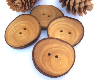 1 1/2'' Branch Buttons, Set of 4, Olive tree buttons, Handmade Wood buttons, Eco/ Natural buttons, Knitting Sewing supplies, 4 cm