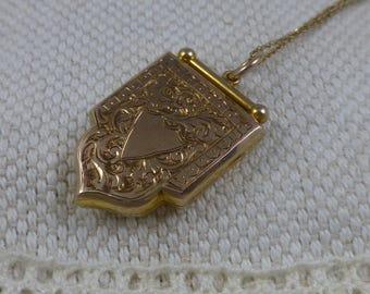 Antique Edwardian Shield Shaped Locket - Birmingham 1910