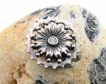 Steampunk flower pendant, fine silver jewelry, Irina Miech
