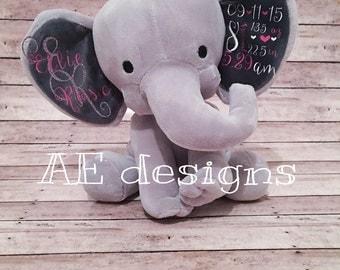 Personalized plush elephant. baby shower gift. birth stat animal. custom plush. stuffed animal. baby girl. new baby. baby shower.