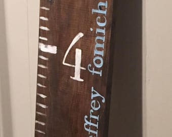 Custom Grow With Me Growth Chart, 6 feet, Distressed Wood, Hand-lettered, Nursery/Child's Room Large Wall Art/Sign