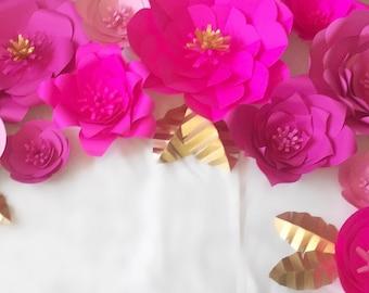 Set of 19 Cardstock Flower Backdrop!