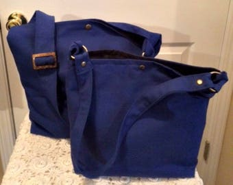 Royal Blue EVERYDAY Bag! Hobo Bag, Shoulder Bag, Canvas, 2 Sizes to Choose From! Quality Handmade! Quality Materials!