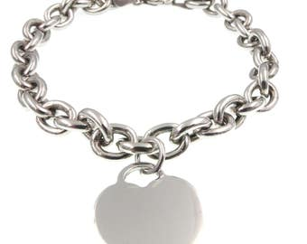Silver bracelet 925 bracelet pendant heart and chain-woman bracelet in 925 sterling silver heart pendant and Chain