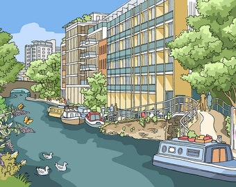 Regent's Canal From Kingsland Road, London - Signed Limited Edition Art Print