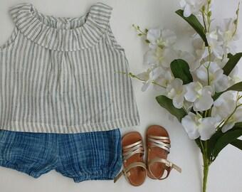 Babys top,Baby girls ruffle top bloomer set, handloom cotton top,shorts, eco-friendly, fairtrade, organic