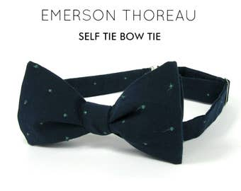Navy Blue Bow Tie with Embroidered Green Dots / Self Tie Bowtie Groom Cotton Polka Dot Emerald Classic Spring Summer Wedding Boys Extra Long