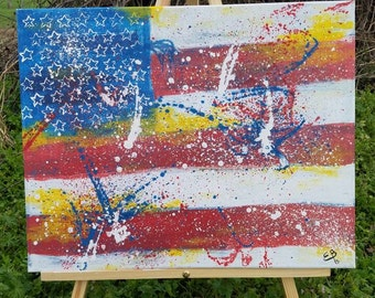 American Flag Painting, Abstract American Flag